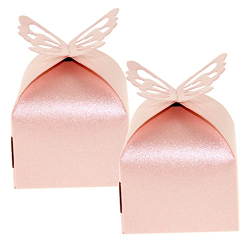 50pcs Pink Lovely Wedding Butterfly Favor Gift Candy Boxes