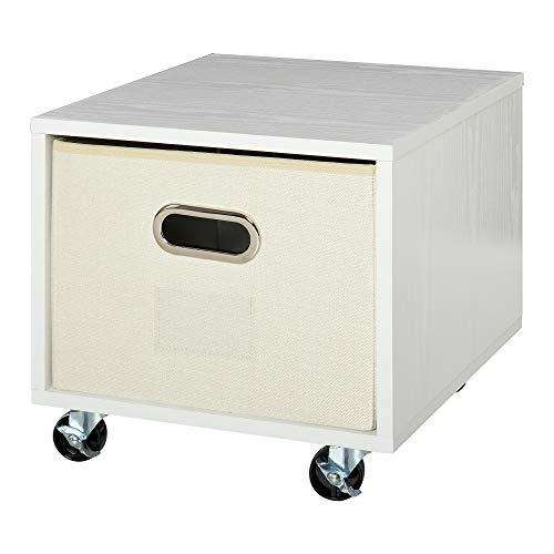 Vinsetto Cajonera Móvil con Caja de Almacenaje de Tela Plegable Cómoda de 1 Cajón para Archivos de Tamaño Convencional Oficina Estudio 36x40x35 cm Blanco ⭐
