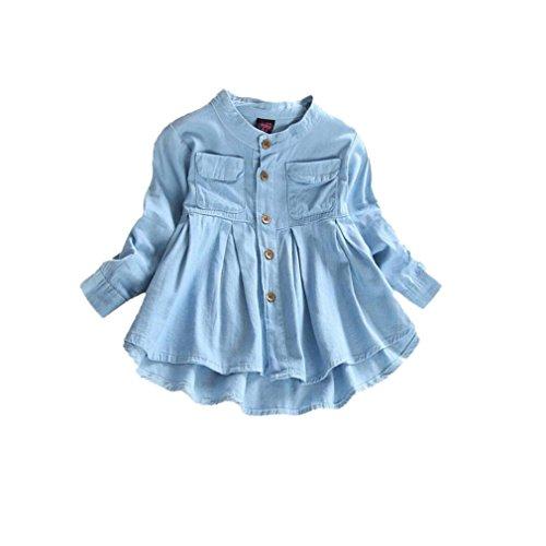 Kobay Kleinkind-Kind-Baby-Mädchen-Denim Geraffte Langhülse T-Shirt Oberseiten-Blusen-Kleidung (XXXL, Blau)