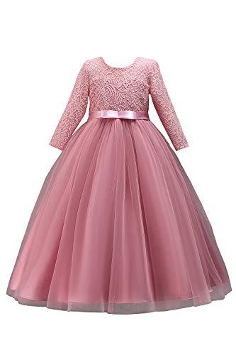 Mädchen Kleid Langarm Spitze Blumenmädchenkleid Festlich Kleid mit V-Rücken Altrosa 130