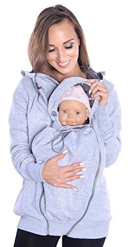 Mija - 3in1 Tragejacke, Umstandsjacke Tragepullover für Tragetuch für Babytrage 4046 (EU42 / XL, Melange)