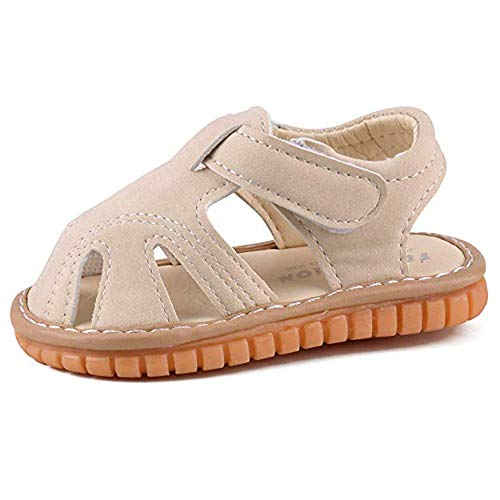 myppgg Baby Boy Girl Summer Infant Squeaky Sandals Premium Rubber Sole Closed-Toe Non-Slip Shoes Toddler First Walkers Beige, 4 Toddler