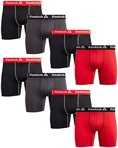 Reebok Men's Performance Boxer Briefs with Comfort Pouch (8 Pack), Size Large, Black/Charcoal/Red'
