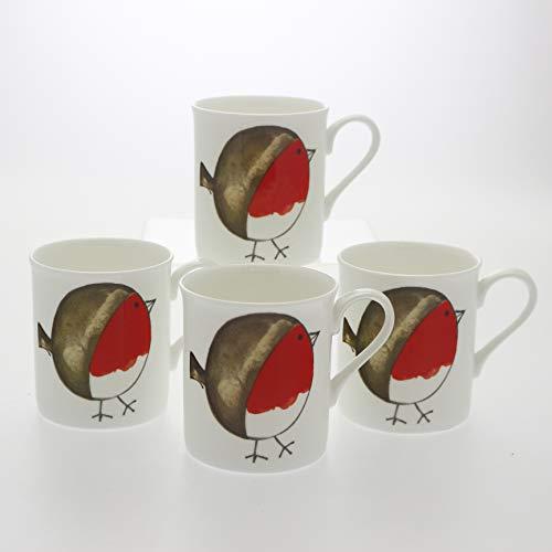 Juego de 4 tazas de porcelana fina, diseño de petirrojo gordo