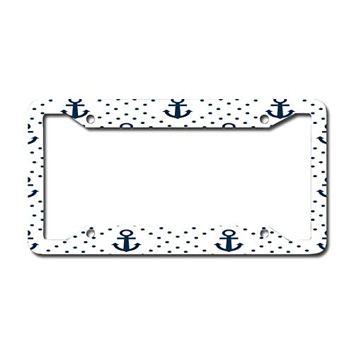 Bright Blue Anchor License Plate Frame, Decorative Car Front, Metal Car Plate, License Plate, Vanity Tag, Aluminum Noverlty License Plate for Men/Women/Boy/Girls Car 6.3 X 12.2 Inch