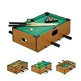 Relaxdays Multigame Tisch, 5 in 1, Tischkicker, Billard, Tischtennis, Schach & Backgammon, Multi Spieltisch, braun -