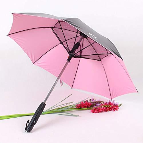 Ventilador Paraguas, Paraguas con Mango Largo Ventilador De Sol, Paraguas A Prueba De Protección UV Paraguas De Sol con Paraguas Ventilador Suplementario, Rosa Vinilo