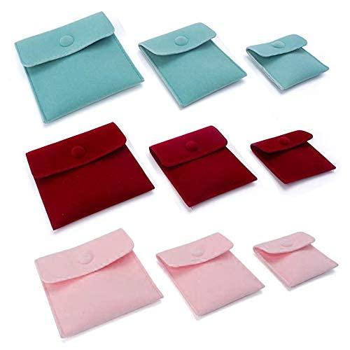 Paquete de 9 bolsas de terciopelo para joyas de 3 tamaños portátiles con botón a presión