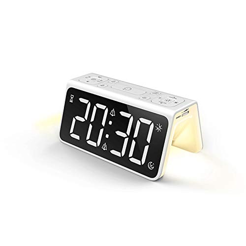 YUNYING Digital Alarm Clock with USB Charger Ports, Modern Mirror Surface Alarm Clock for Room with Snooze Function and 7Adjustable Dimming Brightness Wake Up Lamp Bedroom Clock