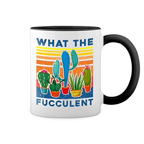 What The Fucculent Sexy Blanca taza de caf con RIM Negro y manija Mug