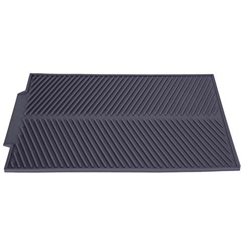 Grote siliconen afvoermat, rechthoekig keukenwerkblad servies drogen pad wastafel mat vaatwasmachinebestendig hittebestendig antislip vak (15,35 x 9,84 inch) grijs