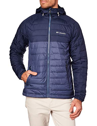 Columbia Men's White Out II Insulated Omni Heat Bomber Hooded Jacket (M, Collegiate Navy/Blue)