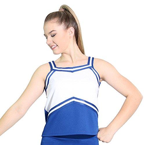 Danzcue Top de uniforme de animadoras para mujer, Azul real/Blanco, XL