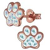 Kinder Ohrringe echt 925 Sterling Silber mit Zirkonia Mädchen Ohrstecker Pfoten Pfötchen K751 Irisierend Rosegold