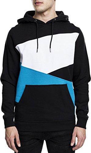Urban Classics Herren Kapuzenpullover Zig Zag Hoodie, Farbe Black/Turquoise/White, Größe M