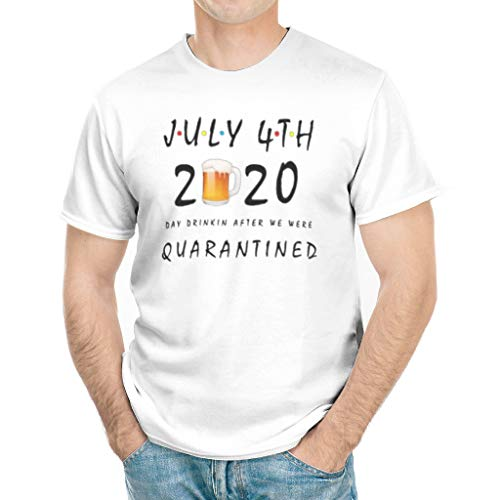 July 4th 2020 Shirt, Beer Day Drinkin After We were Quarantined Corona-Virus Tshirt for Men Women White 2X-Large