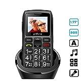 Artfone Mobiltelefon Seniorenhandy mit großen Tasten & ohne Vertrag, Mit Notruf-Knopf & 1400 mAh Akku, Großtastenhandy mit Ladestation & 1,77 Zoll Farbdisplay