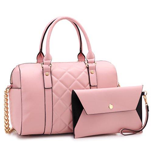 Dasein Women Soft Vegan Leather Barrel Bags Large Top Handle Totes Satchel Handbags Shoulder Purse W/Wallet Pink