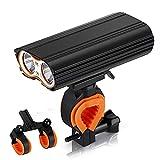Luces para Bicicleta, Faros Delanteros Recargables USB para Bicicleta, Faros Delanteros LED T6 Dobles De 400Lm para Faros Delanteros De Montaje MTB