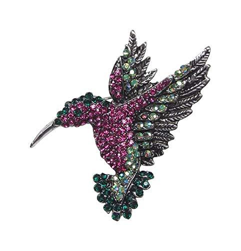 Broche de pájaro colibrí de acero y pedrería de cristal.