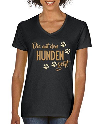Comedy Shirts - Die mit den Hunden geht - Damen V-Neck T-Shirt - Schwarz/Hellbraun-Beige Gr. L