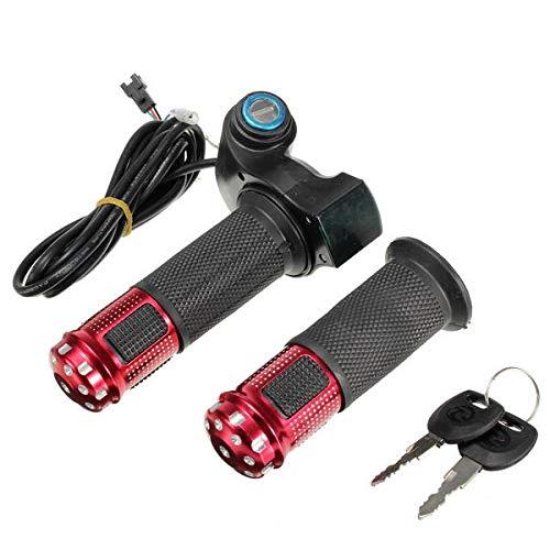 IJEOKDHDUW Manillar de Agarre de Acelerador eléctrico de 24 V 36V 48V con medidor Digital LED (Color : Red)