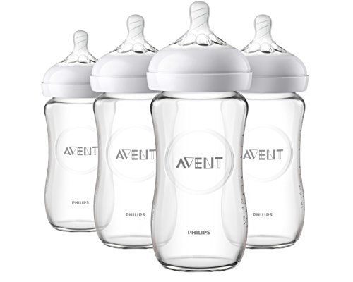 Philips Avent Natural Glass Baby Bottle, Clear, 8oz, 4pk, SCF703/47