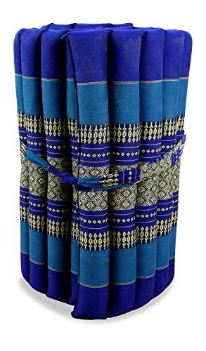 livasia Kapok Rollmatte in 190cm x 50cm x 4,5cm der Marke Liegematte BZW. Yogamatte, Thaikissen, Thaimatte als asiatische Rollmatratze (blau)