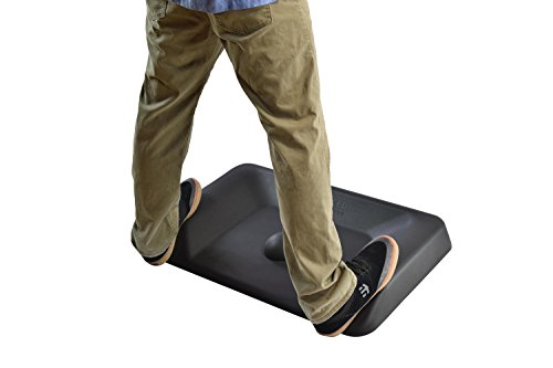 Uncaged Ergonomics ACTIVE STANDING MAT not flat ergonomic anti fatigue mat for standing desks contoured thick cushioned comfort massaging floor mat stand up accessories office warehouse large varied terrain, black (ASM-b)
