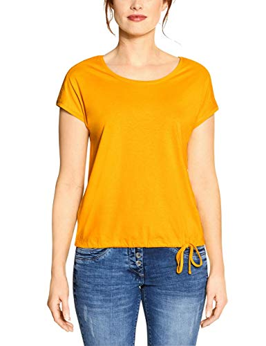 Cecil Damen 314828 Solid Smock Shoulder T-Shirt, Mango Yellow, X-Large