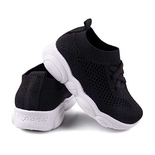 Baby First Walking Shoes 1-4 Years Kid Shoes Trainers Toddler Slip on Infant Waves Shoes Boys Girls Cotton Mesh Breathable Sneakers Outdoor(Black,6 T) Bear24