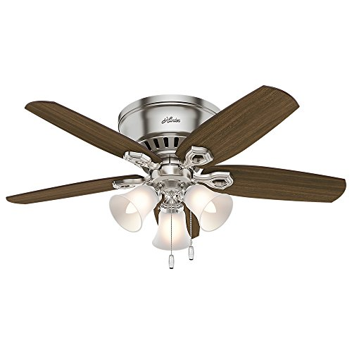 hunter fan low profiles Hunter Builder Indoor Low Profile Ceiling Fan with LED Light and Pull Chain Control, 42