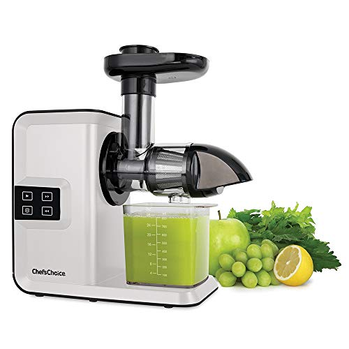 Chef'sChoice Juicer Cold Press Extractor Machine Masticating Quiet Motor Digital Controls Anti-Clog Reverse Function Nutrient Preserving For Juicing Fruits Veggies and All Greens, 150-Watts, White