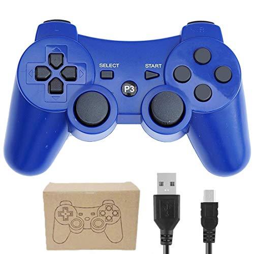Kepisa Control Inalámbrico Bluetooth Controlador con Cable USB para Playstation 3 PS3 Doble vibración…