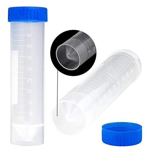 ASelected Konische Zentrifugenröhrchen für Labor, freistehend, transparent, Kunststoff, mit Deckel, 50 Stück