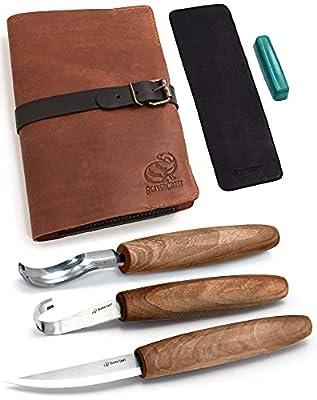 BeaverCraft Wood Spoon Carving Tools Kit S14x Deluxe - Spoon Carving Knives Hook Knife Wood Carving Spoon Knife Set Bowl Kuksa Whittling Carving Gouges Kit
