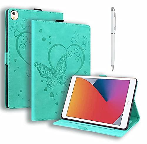 DYGG Compatible con Funda Apple iPad 5th/6th.iPad Air 1.iPad Air 2.Apple iPad 9.7 Inch 2017/2018.iPad Pro 9.7-Inch Carcasa con lápiz táctil Auto-Sueño/Estela Verde