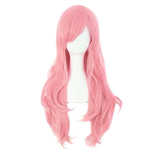 MapofBeauty 70cm/ 28 Pouce Longue Bouclé Femmes Bouclé Perruques (Rose)