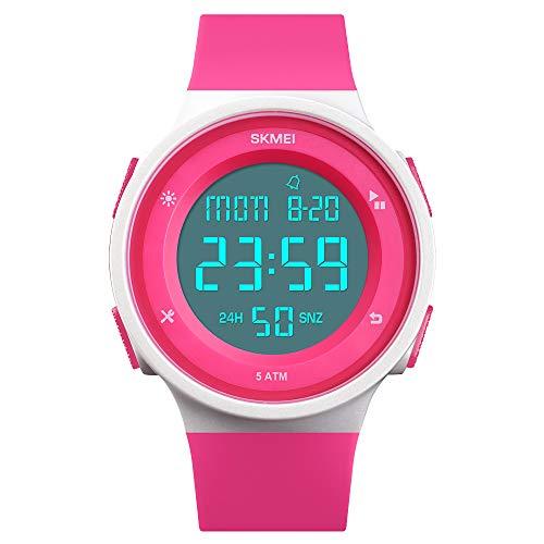 FeiWen Multifunktional Digital Uhren für Damen Junge und Mädchen 50M Wasserdicht LED Doppelte Zeit Outdoor Sport Digital Militär Armbanduhren Plastik Wählscheiben mit Kautschuk Band (Rot)