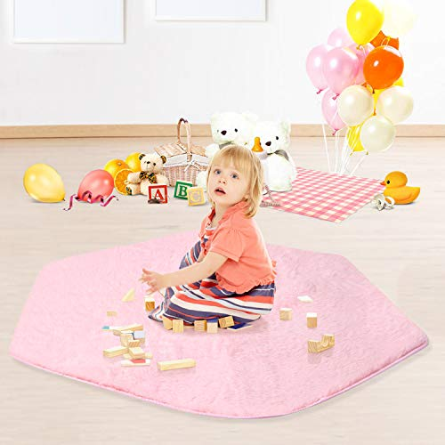 joylink Play Tent Rug, 140 * 125cm Non-Slip Baby Play Mat Plush Mat Children Tent Hexagon Princess Castle Playhouse Pad for Children Play