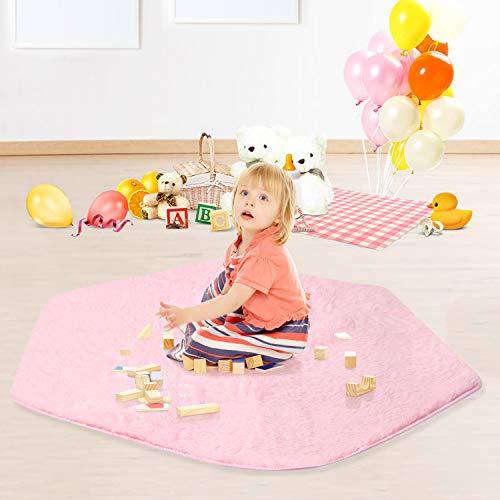 Joylink Tappeto Esagonale, Non-Slip Baby Play Mat Bambini Tenda Esagono Principessa Castello Playhouse Pad Hexagonal Carpets for Bedroom Children Rugs for Kids Room 140 x 125