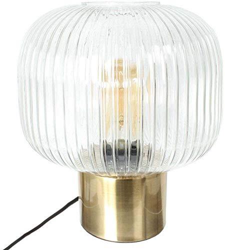 The Home Deco Light - Lámpara de Mesa de Cristal y Metal Dorado Vintage