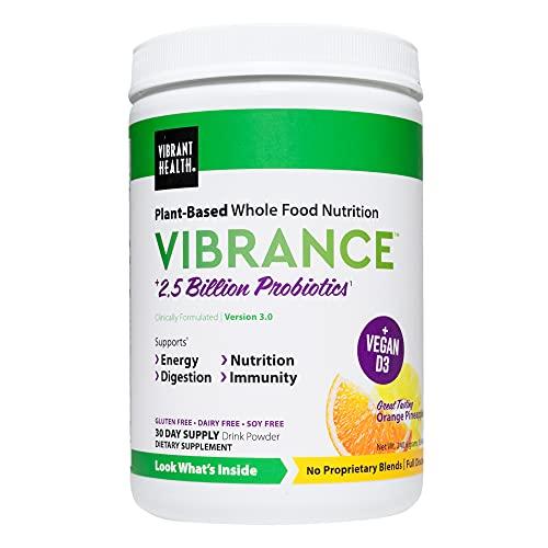 Vibrant Health, Vibrance, Plant-Based Green Superfood Powder, Orange Pineapple, 30 Servings