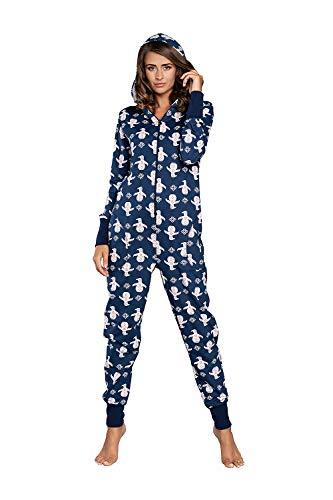 Damen Schlafanzug aus Baumwolle, Pijama One-Piece warm Jumpsuit Long Sleeve for Woman (S, Dunkelblau)