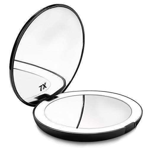 Powcan Espejo Maquillaje, Viaje con 10 luzs LED - Mini Espejo Bolsillo