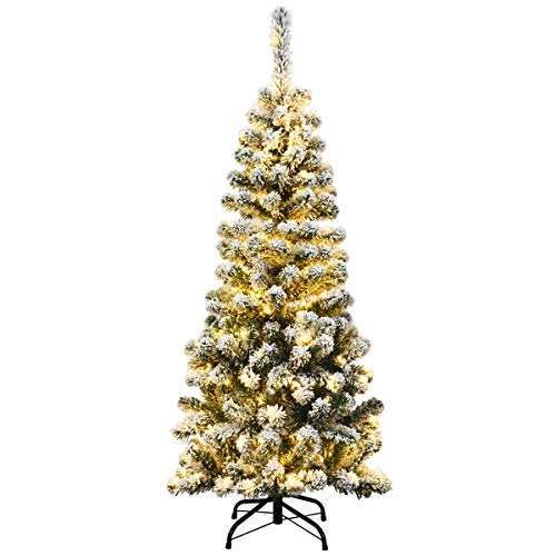 COSTWAY Snow Flocked Christmas Tree, Pre-Lit Hinged Artificial Pine Tree with 150 Warm LED Lights and Metal Stand, Slim Pencil Xmas Trees for Indoor Outdoor Decoration (4.5ft)