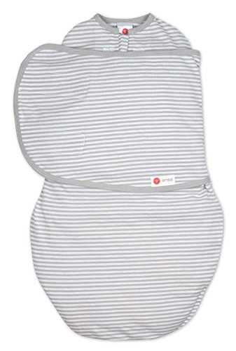 embé 2-Way Starter Swaddle Blanket, 6-14 lbs, Diaper Change w/o Unswaddling, Legs in and Out Design, Warm Up or Cool Down 100% Cotton, 0-3 Months (Grey Stripe)