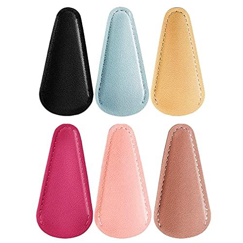 FOMIYES 6 tijeras de vaina tijeras de cuero fundas de seguridad coloridas tijeras de corte de cejas cubiertas recoger bolsas (color mezclado)