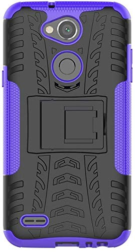 Sunrive Hülle Für LG X Power2, Tasche Schutzhülle Etui Hülle Cover Hybride Silikon Stoßfest Handyhülle Hüllen Zwei-Schichte Armor Design schlagfesten Ständer Slim Fall(lila)