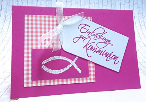 Einladung Einladungskarte zur Kommunion Fisch pink rosa handgefertigt Handarbeit A6